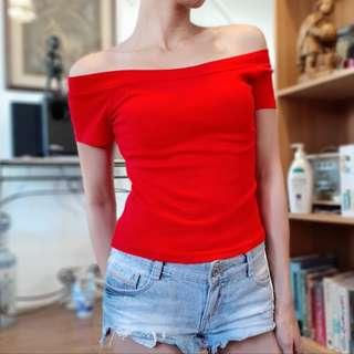 Sexy Red Offshoulder Semi-croptop