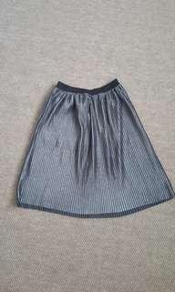 Pull & bear silver midi pleated skirt