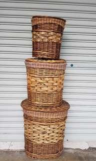 Multipurpose rattan basket with top cover for laundry etc (rotan) handmade handicraft