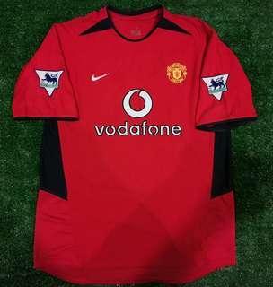 Original Manchester United 2002 home jersey with Saha 9 nameset jersi #CNY888