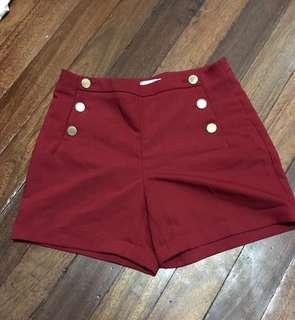 H&M high waist button shorts