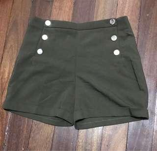 High waist button down army green shorts