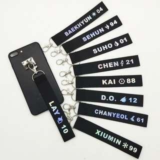 🚚 EXO Reflective Colourful Laser Name Strip Keychain Lanyard