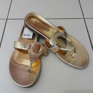 a8a300dc686d6 Ralph Lauren Kalana Flat Sandals in Gold