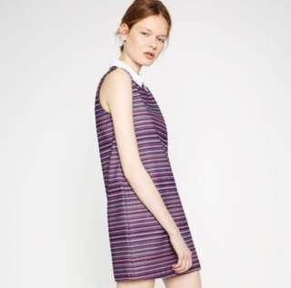 Zara sleeveless striped collar dress