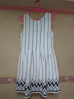 White with black striped dress