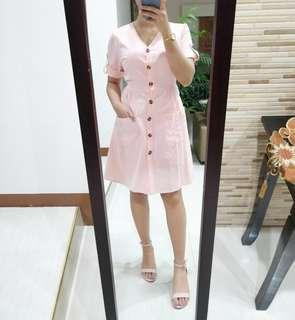Peach Pink Button Down Dress with Pockets