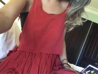 Dusty red boho dress