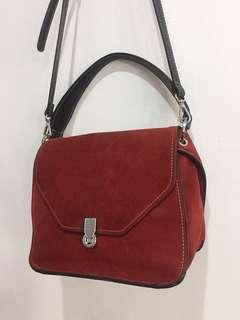 Zara Genuine Leather Suede Red Sling Cross Body Bag