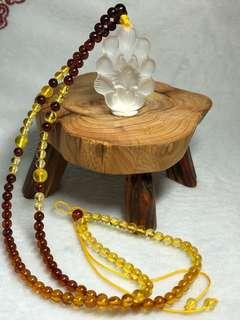 🚚 白水晶九尾狐仙与血珀蜜蜡琥珀项链 Clear white crystal nine tails fox with beeswax amber necklace