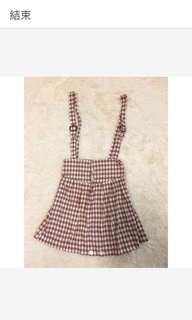 🚚 甜美格紋吊帶裙