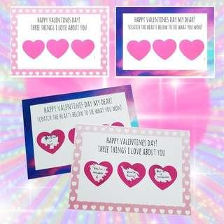 🚚 Valentines day gift idea heart scratch cards