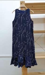 Stroke Print Midi Dress in Navy