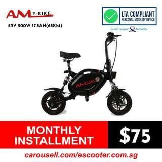AM GT 52V 17.5Ah LG (65Km) MJ1 Seated Electric Scooter (LTA Compliant Escooter) Limited stocks!!!