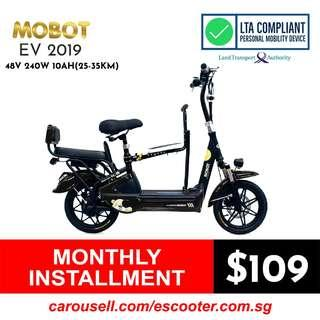 Mobot EV 2019 48V 240W 10Ah(25-35Km) with Front Child Seat (3 seater electric scooter), LTA Compliant Escooter (Limited stocks!!!)