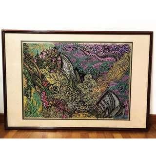 Framed Batik Motif Painting