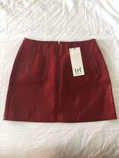 Zara Red Wet Look Skirt Size S BRAND NEW