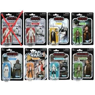 Star Wars The Vintage Collection wave 18 Han Solo Range Trooper  Enfys Nest Luke Skywalker Cassian Andor Imperial Hovertank Driver Doctor Aphra set of 7