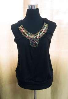 Black Sleeveless with Beads