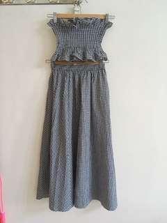 🚚 兩件式格子洋裝