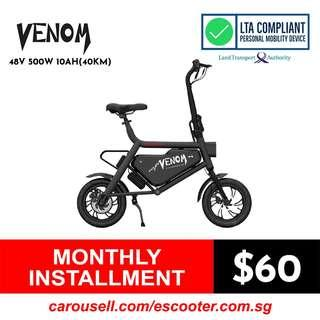 Venom 48V 10.4Ah LG Electric Scooter (LTA Compliant E-scooter) Limited stocks!!