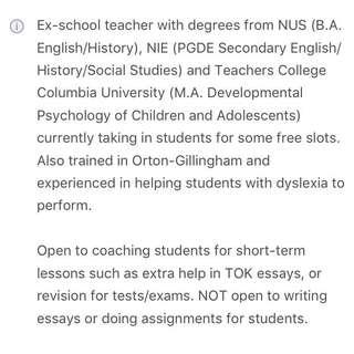 English / History / TOK Tuition