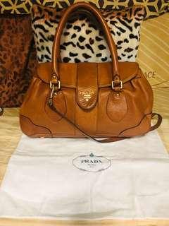 Preloved authentic Prada two way lambskin bag! With code!