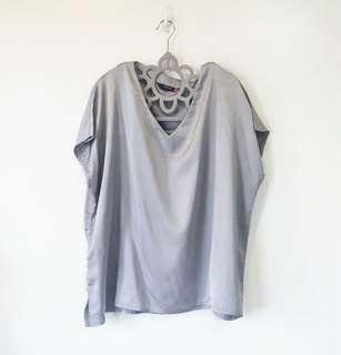 Plus Size Silver Silk Blouse (5XL)