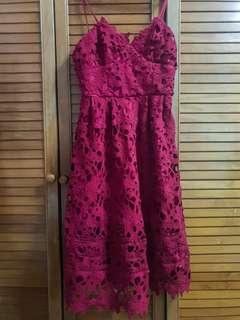 🚚 Maroon Chrochet Midi Dress