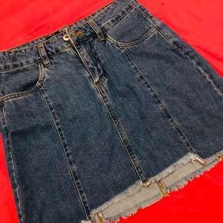 High waisted denim skirt by factorie
