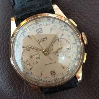 (New year Sales!) TITUS 1940's CHRONOMETER 14k Solid GOLD Vintage Mechanical Winding Wrist Watch