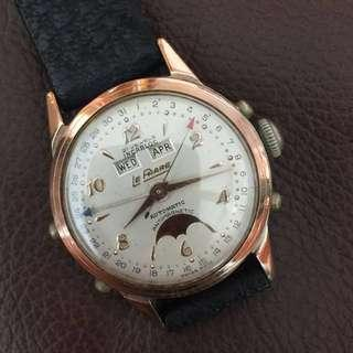 (New Year Sales!) LE PHARE 1940's PINK Solid Gold Top MOONPHASE Calendar AUTOMATIC Vintage Mechanical Winding Wrist Watch