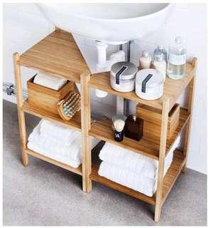 Wash-basin/corner shelf bamboo. Set of 2