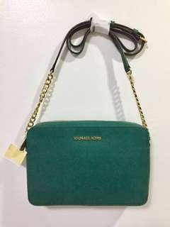 BRAND NEW 100% Original Michael Kors Emerald Green Jet Set Travel Large East/West Chain Strap Crossbody Bag