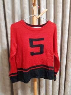 GU紅黑配色薄針織上衣🖤