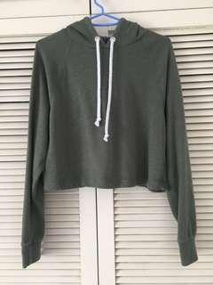 Army Green crop hoodie