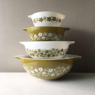 Vintage Pyrex 4-pc 441-444 Spring Blossom Green Bowl Set