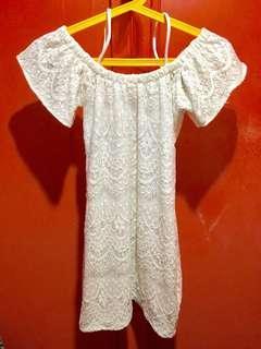 Off Shoulder White Laced Dress