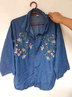 Soft Denim Embroidered Top/Polo