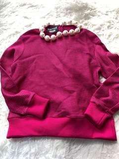 Moschino pink jumper with faux pearls