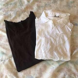 White Ruffled and Brown Merona Sweater Bundle
