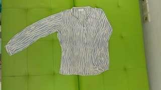 Blouse Zebra Biru Putih