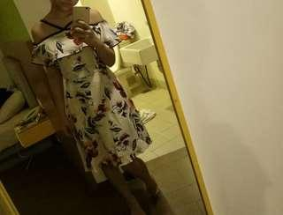 Aarna flowery cold shoulder mini dress