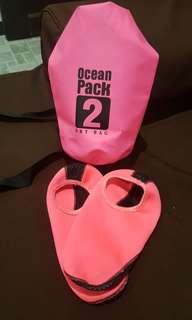 ON SALE!!! Pink Dry Bag and Swim Shoes