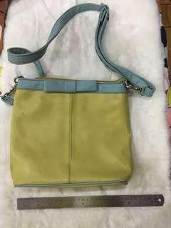 Yellow and blue shoulder bag