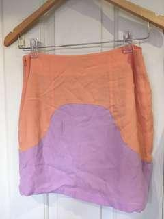 Purple and orange mini skirt size 6-8
