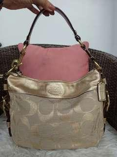 Coach small gold shoulder bag