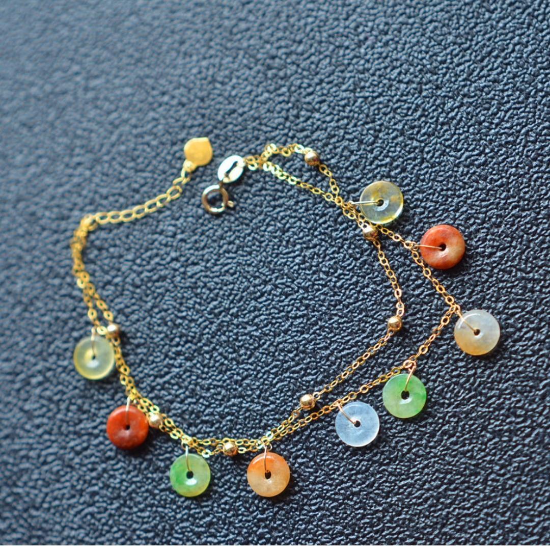 18K gold donuts jade bracelet grade A jadeite gemstone Asian handmade multi colors