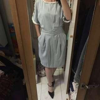 秋冬天藍色連身裙 連高跟鞋 dress with high heel