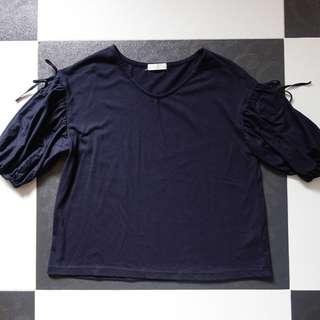 日本品牌 Earth Music & Ecology Natural 黑色 蝴蝶結袖 上衣
